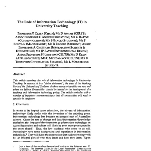 The role of information technology (IT) in university teaching