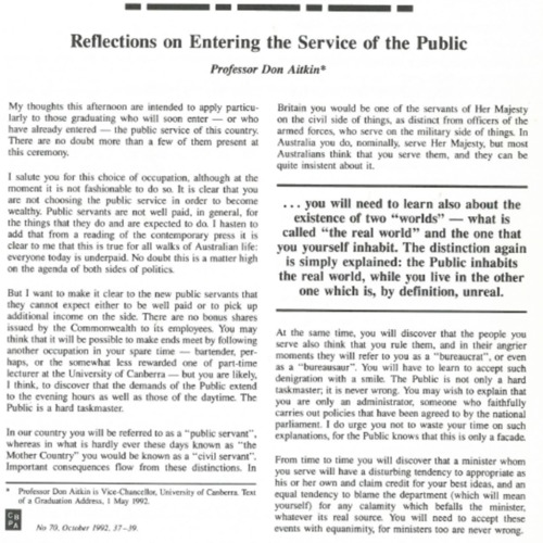 Reflections on entering the service of the public — Address to future public servants